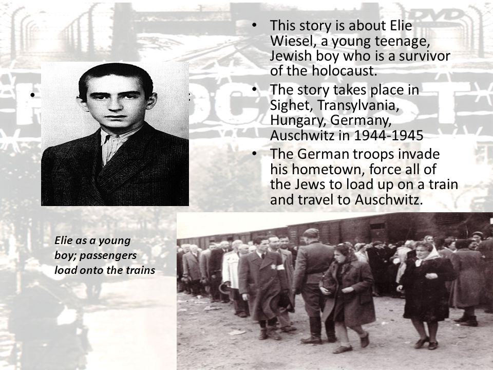 Background, Con't: They first arrive in Birkenau (another camp), where Eliezer and his father are separated from his mother and sisters, whom they never see again.