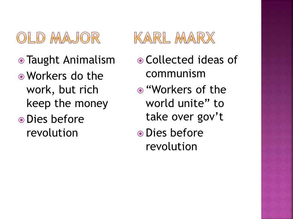 """ Taught Animalism  Workers do the work, but rich keep the money  Dies before revolution  Collected ideas of communism  """"Workers of the world unit"""