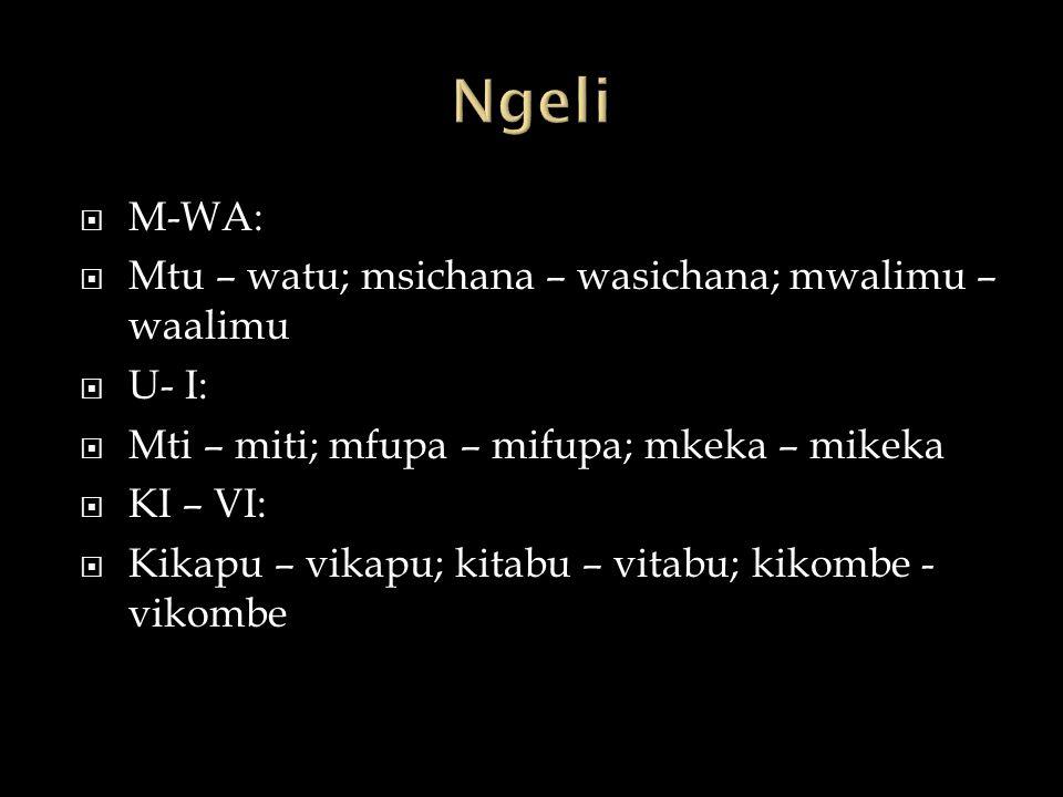  M-WA:  Mtu – watu; msichana – wasichana; mwalimu – waalimu  U- I:  Mti – miti; mfupa – mifupa; mkeka – mikeka  KI – VI:  Kikapu – vikapu; kitabu – vitabu; kikombe - vikombe