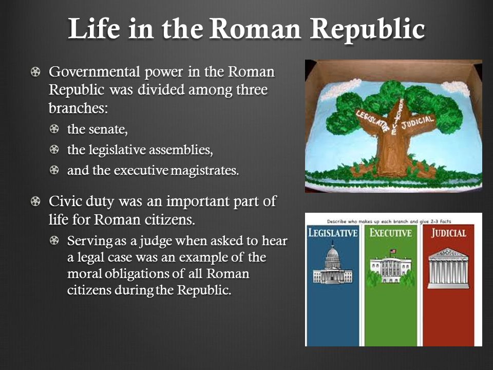Life in the Roman Republic Governmental power in the Roman Republic was divided among three branches: the senate, the legislative assemblies, and the