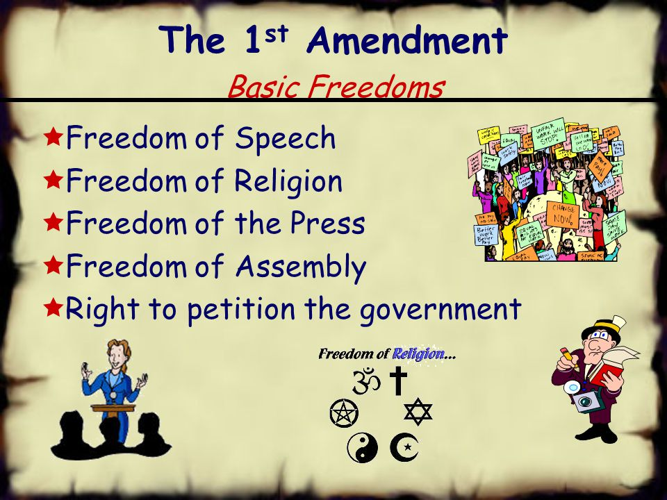 The 1 st Amendment Basic Freedoms  Freedom of Speech  Freedom of Religion  Freedom of the Press  Freedom of Assembly  Right to petition the government