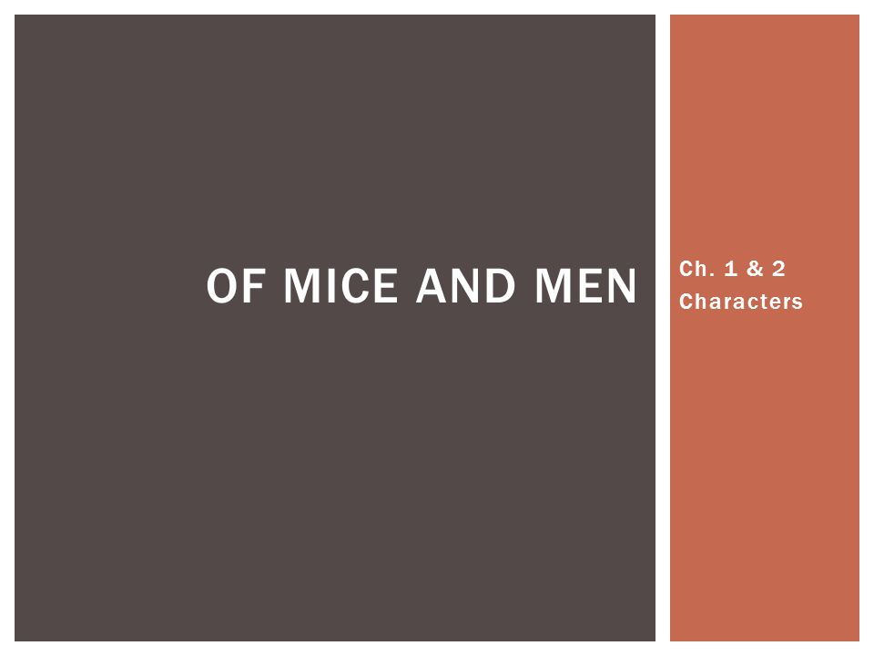 Ch. 1 & 2 Characters OF MICE AND MEN