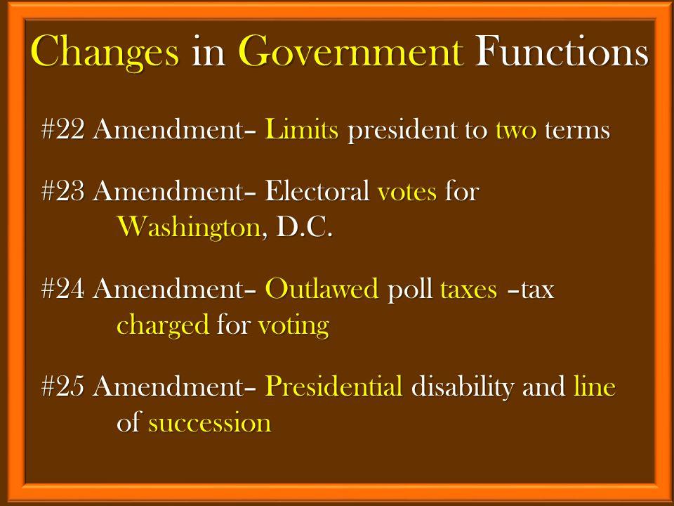 #22 Amendment– Limits president to two terms #23 Amendment– Electoral votes for Washington, D.C.