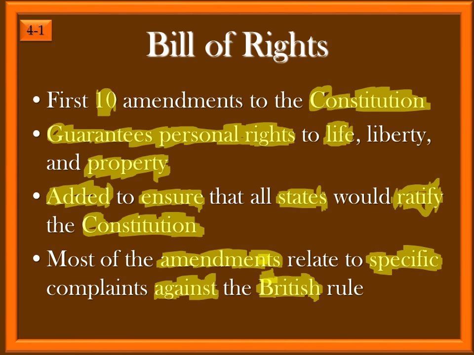 First 10 amendments to the ConstitutionFirst 10 amendments to the Constitution Guarantees personal rights to life, liberty, and propertyGuarantees per