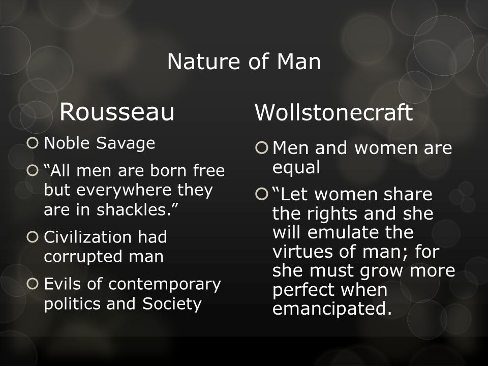 Nature of Man Rousseau  Noble Savage  All men are born free but everywhere they are in shackles.  Civilization had corrupted man  Evils of contemporary politics and Society Wollstonecraft  Men and women are equal  Let women share the rights and she will emulate the virtues of man; for she must grow more perfect when emancipated.