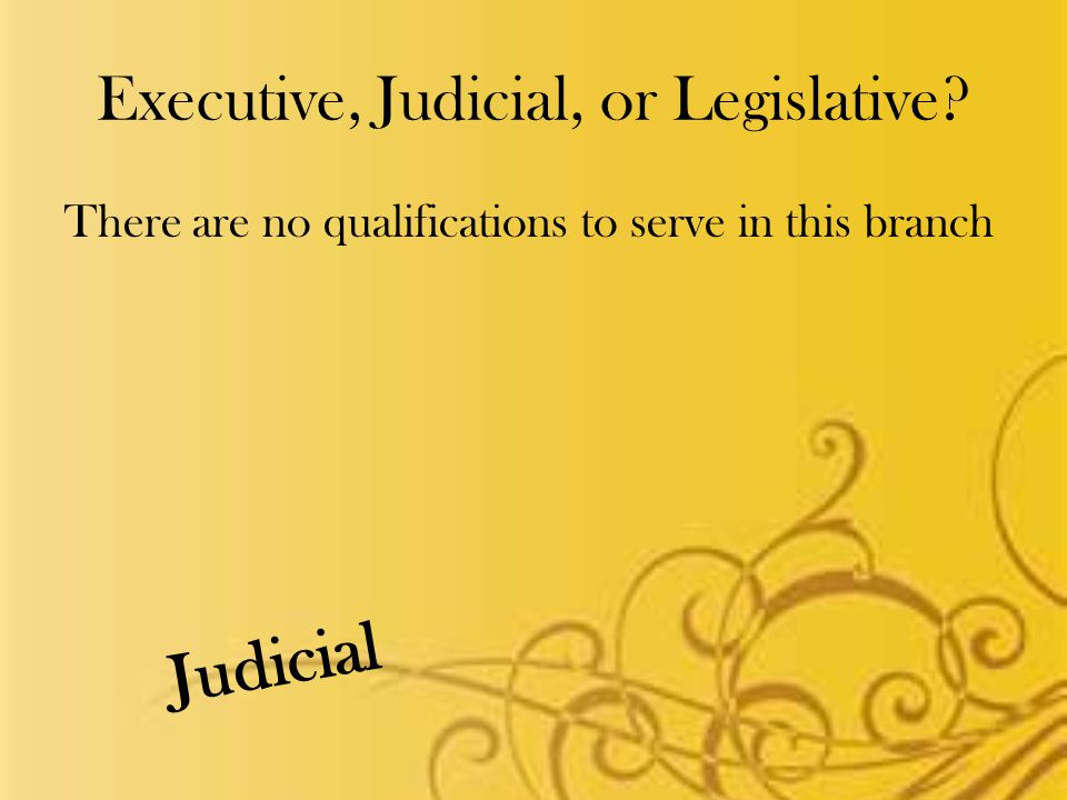 Executive, Judicial, or Legislative There are no qualifications to serve in this branch Judicial