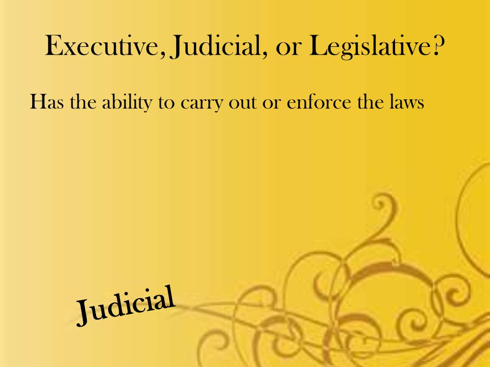 Executive, Judicial, or Legislative Has the ability to carry out or enforce the laws Judicial