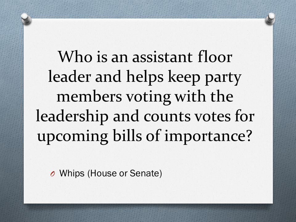 Who is an assistant floor leader and helps keep party members voting with the leadership and counts votes for upcoming bills of importance? O Whips (H
