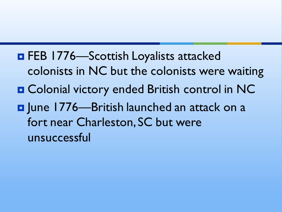  FEB 1776—Scottish Loyalists attacked colonists in NC but the colonists were waiting  Colonial victory ended British control in NC  June 1776—Briti