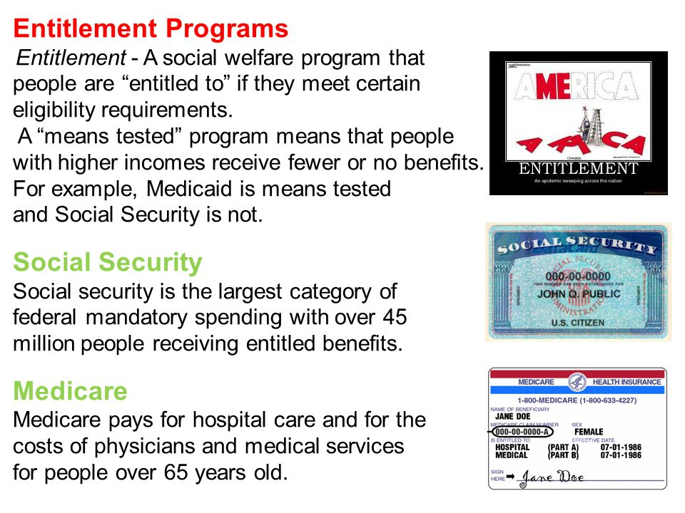 Entitlement Programs Entitlement - A social welfare program that people are entitled to if they meet certain eligibility requirements.