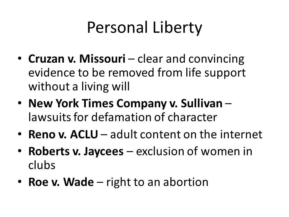 Personal Liberty Cruzan v.