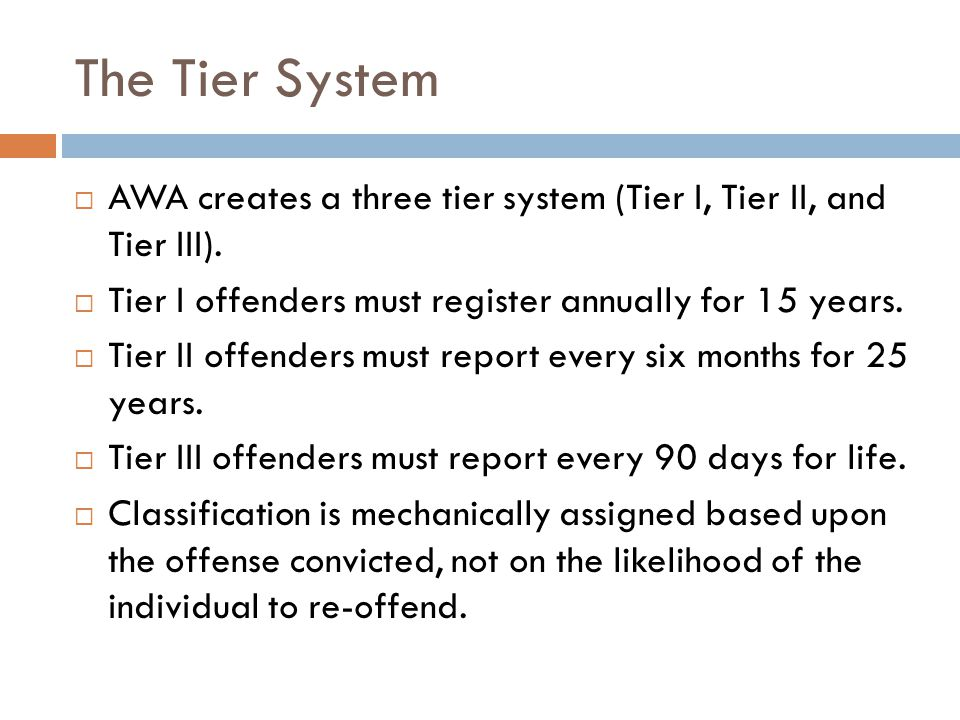 The Tier System  AWA creates a three tier system (Tier I, Tier II, and Tier III).