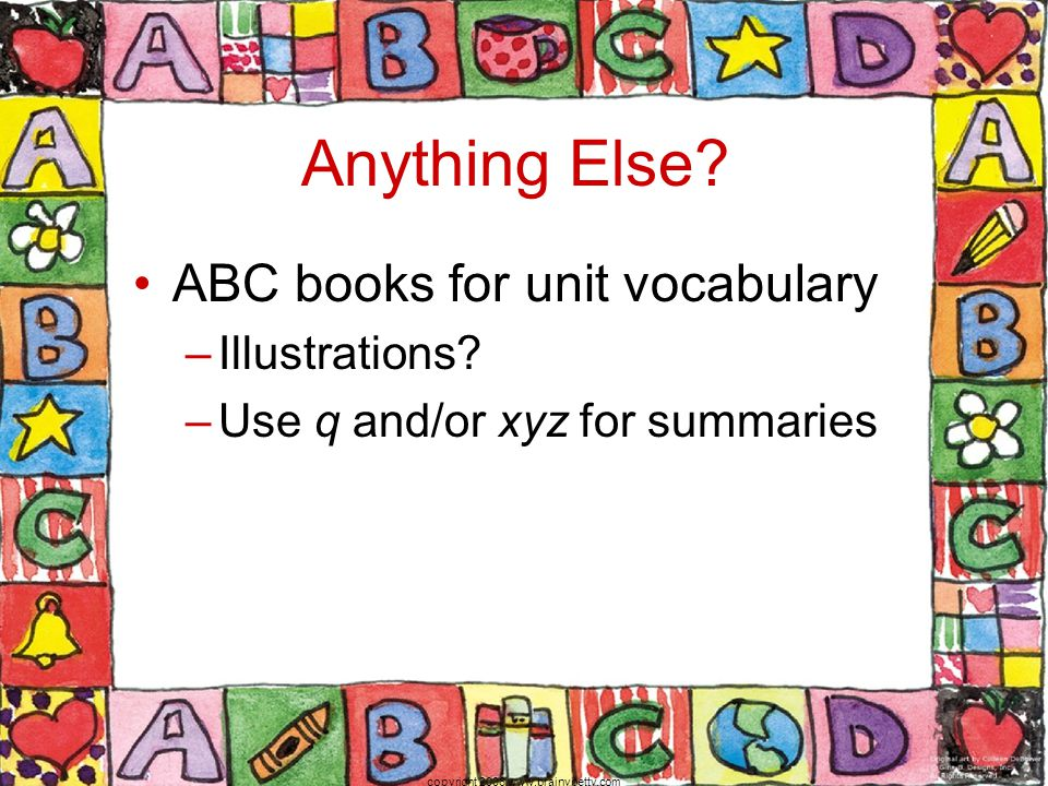 Anything Else. ABC books for unit vocabulary –Illustrations.