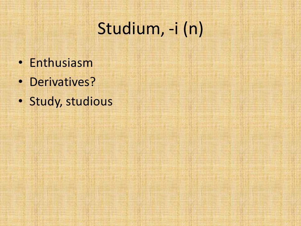 Studium, -i (n) Enthusiasm Derivatives Study, studious