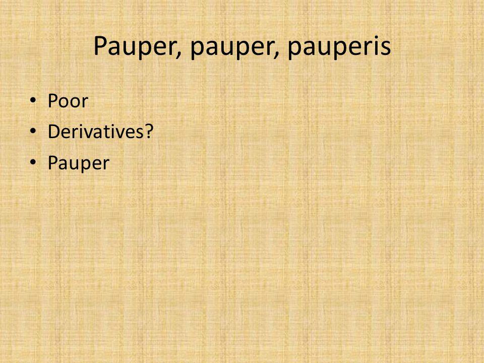 Pauper, pauper, pauperis Poor Derivatives? Pauper