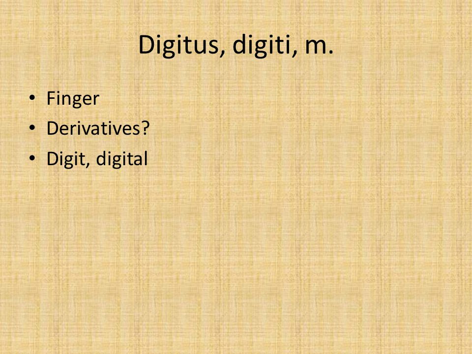 Digitus, digiti, m. Finger Derivatives? Digit, digital