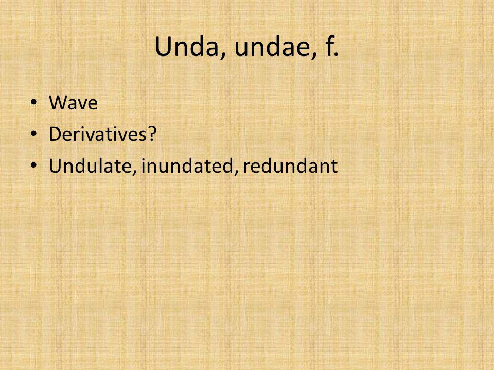 Unda, undae, f. Wave Derivatives? Undulate, inundated, redundant