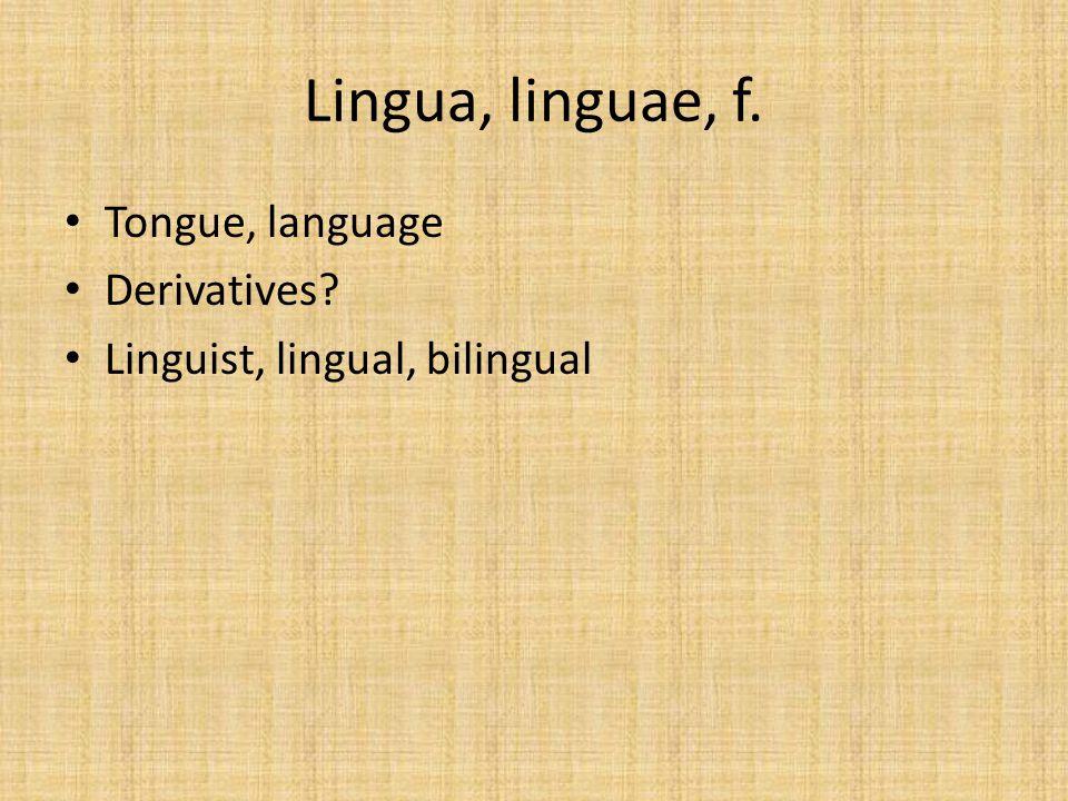 Lingua, linguae, f. Tongue, language Derivatives? Linguist, lingual, bilingual