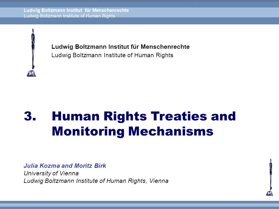 The Universal Declaration of Human Rights (UDHR) The core human rights treaties and their status of ratification Treaty bodies and monitoring mechanisms Overview of the individual human rights treaties – content and monitoring Functioning of the individual complaint procedure – by the example of the ICCPR International treaty monitoring system – problems and possible solutions Overview