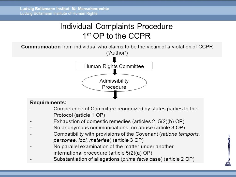 Individual Complaints Procedure 1 st OP to the CCPR Communication from individual who claims to be the victim of a violation of CCPR ('Author') Human