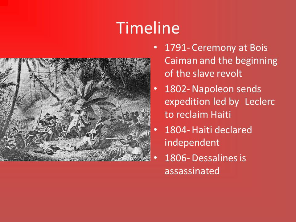Timeline Cont… 1825- Haiti pays a indemnity to France for recognition of independence