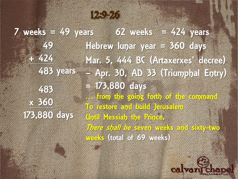 7 weeks = 49 years 49 + 424 483 Hebrew lunar year = 360 days 12:9-26 62 weeks = 424 years years 483 x 360 173,880 days Mar.