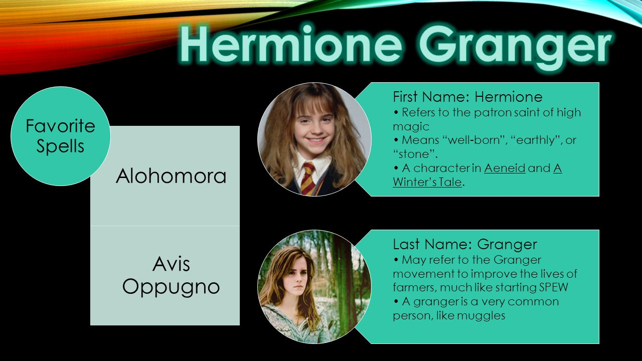 First Name: Hermione Refers to the patron saint of high magic Means well-born , earthly , or stone .