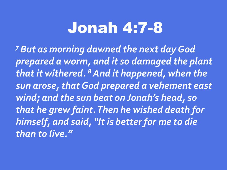 Jonah 4:7-8 7 But as morning dawned the next day God prepared a worm, and it so damaged the plant that it withered.
