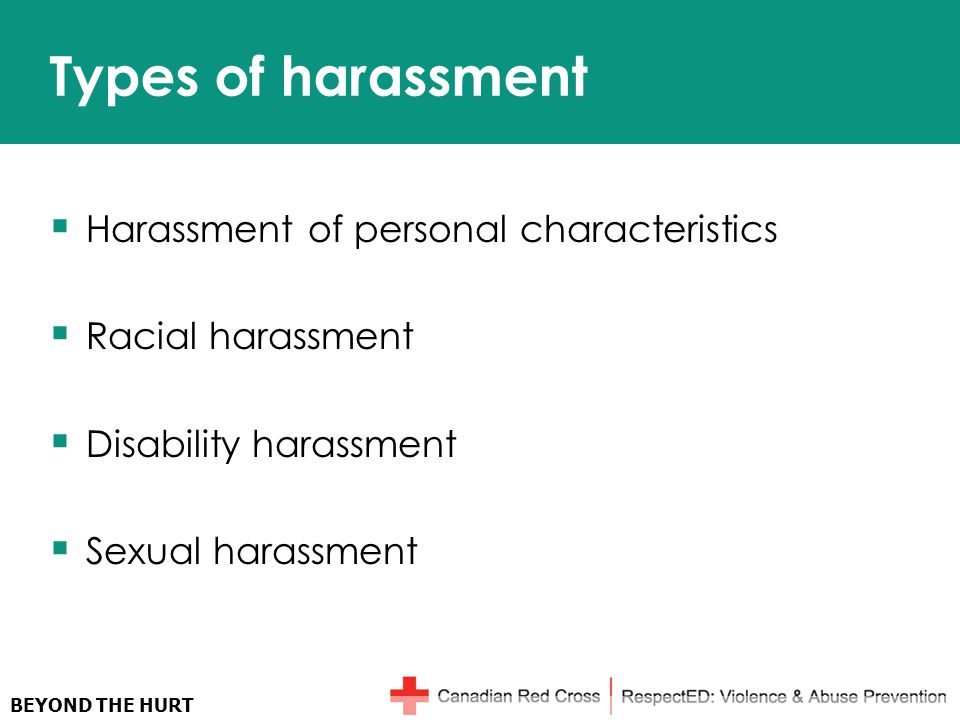 BEYOND THE HURT Types of harassment  Harassment of personal characteristics  Racial harassment  Disability harassment  Sexual harassment