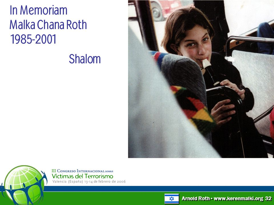 Arnold Roth ▪ www.kerenmalki.org 32 Shalom In Memoriam Malka Chana Roth 1985-2001