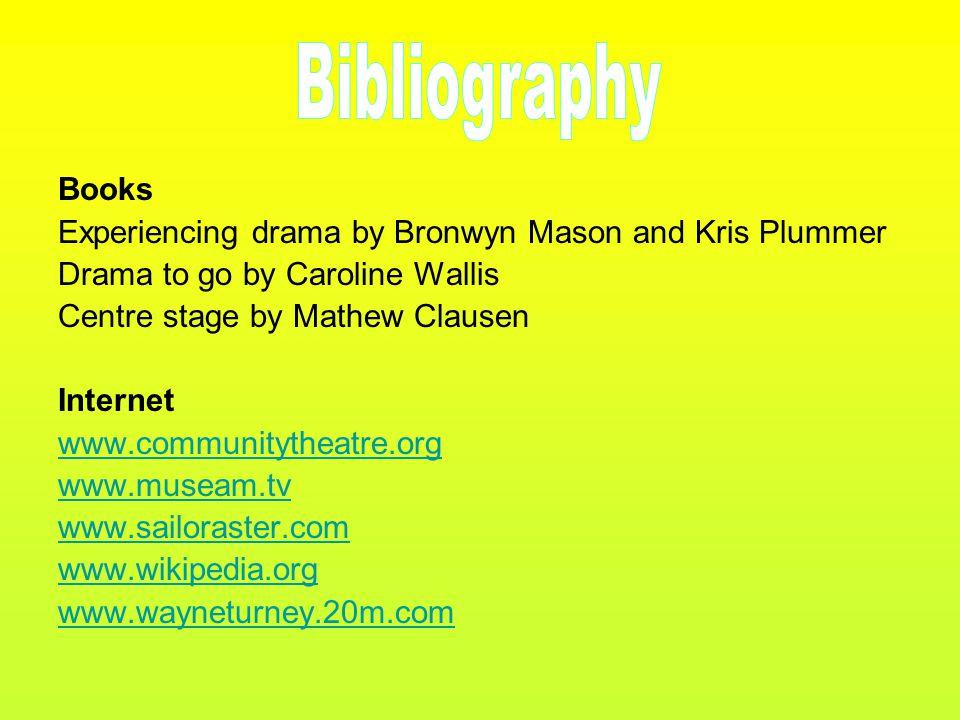Books Experiencing drama by Bronwyn Mason and Kris Plummer Drama to go by Caroline Wallis Centre stage by Mathew Clausen Internet www.communitytheatre.org www.museam.tv www.sailoraster.com www.wikipedia.org www.wayneturney.20m.com