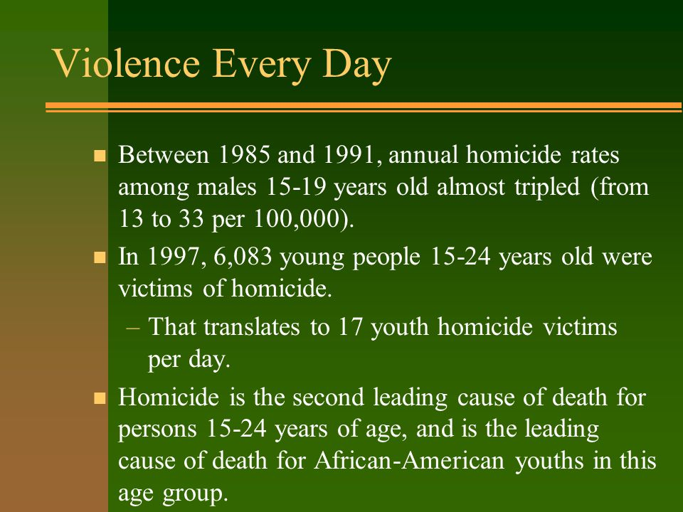 Violence Every Day n Between 1985 and 1991, annual homicide rates among males 15-19 years old almost tripled (from 13 to 33 per 100,000).