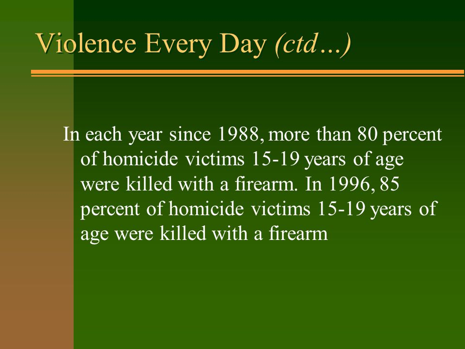 Violence Every Day (ctd…) In each year since 1988, more than 80 percent of homicide victims 15-19 years of age were killed with a firearm.