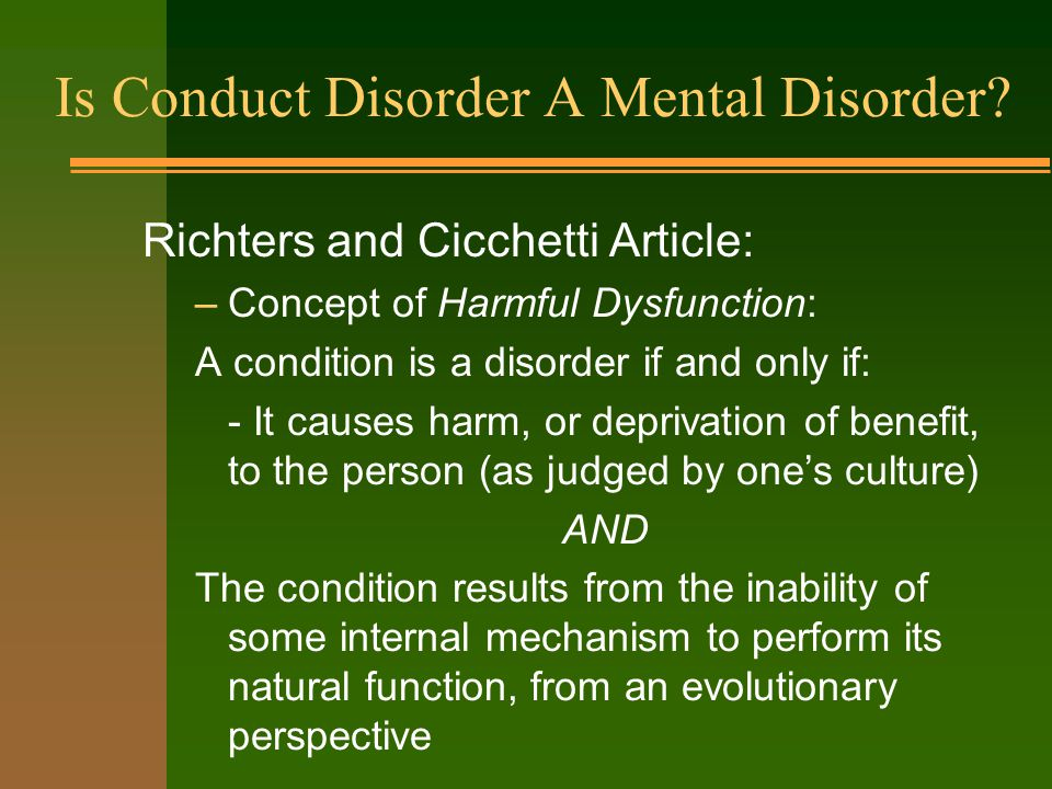 Is Conduct Disorder A Mental Disorder.