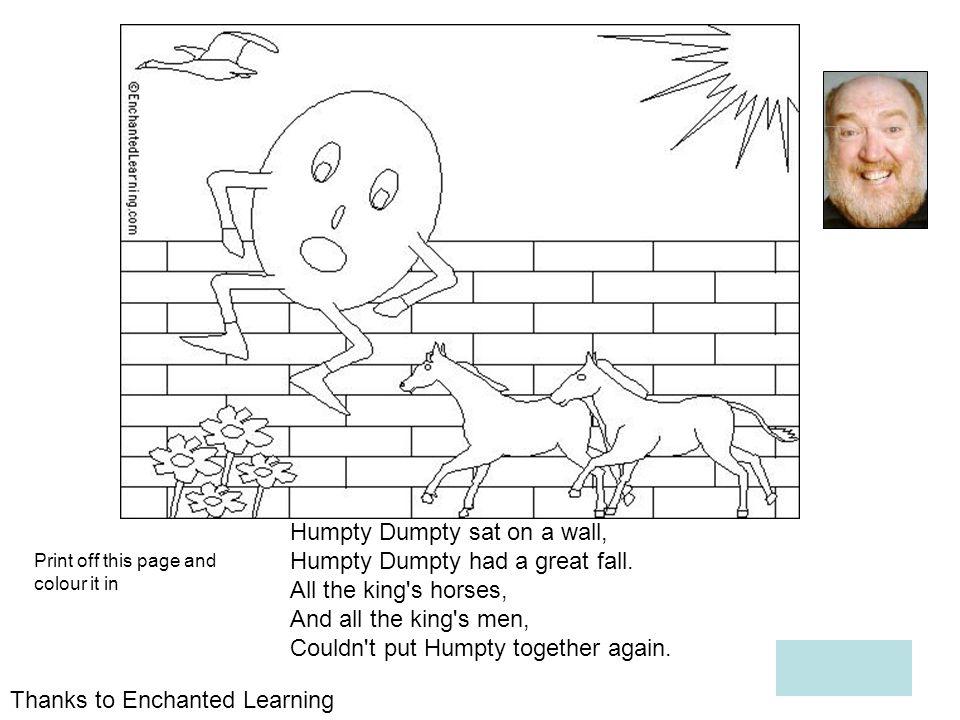 Humpty Dumpty sat on a wall, Humpty Dumpty had a great fall.