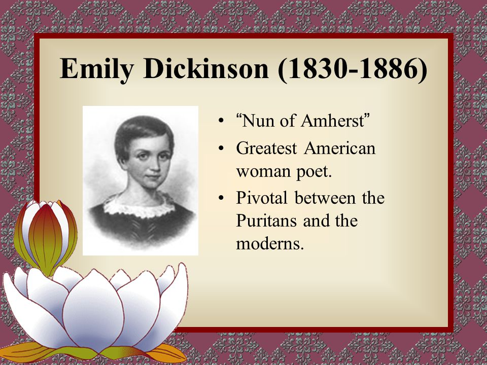 Life Experience & Literary Career  1830, born in Amherst, Massachusetts.