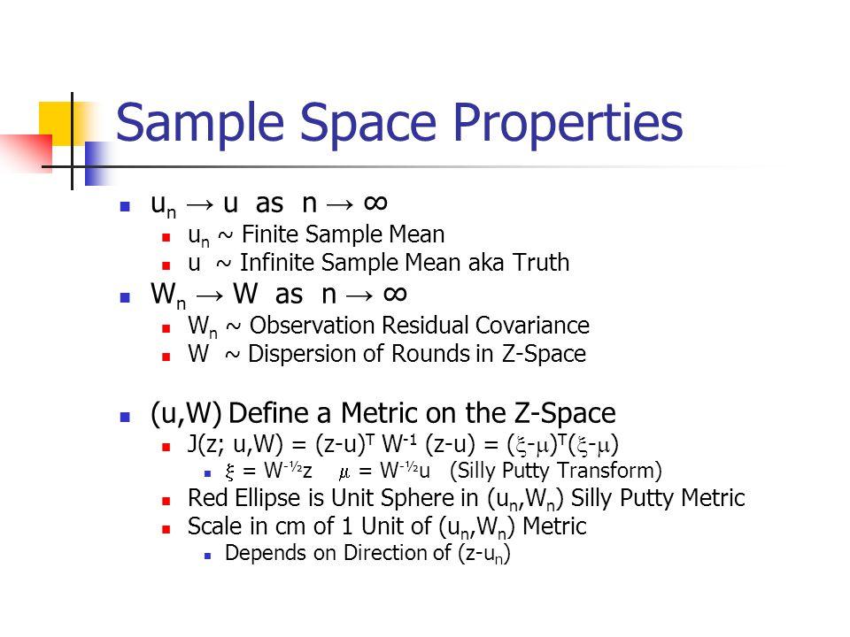 Sample Space Properties u n → u as n → ∞ u n ~ Finite Sample Mean u ~ Infinite Sample Mean aka Truth W n → W as n → ∞ W n ~ Observation Residual Covariance W ~ Dispersion of Rounds in Z-Space (u,W) Define a Metric on the Z-Space J(z; u,W) = (z-u) T W -1 (z-u) = (  -  ) T (  -  )  = W -½ z  = W -½ u (Silly Putty Transform) Red Ellipse is Unit Sphere in (u n,W n ) Silly Putty Metric Scale in cm of 1 Unit of (u n,W n ) Metric Depends on Direction of (z-u n )