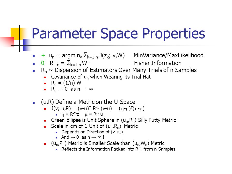 Parameter Space Properties + u n = argmin v Σ k=1:n J(z k ; v,W) MinVariance/MaxLikelihood 0 R -1 n = Σ k=1:n W -1 Fisher Information R n ~ Dispersion of Estimators Over Many Trials of n Samples Covariance of u n when Wearing its Trial Hat R n = (1/n) W R n → 0 as n → ∞ (u,R) Define a Metric on the U-Space J(v; u,R) = (v-u) T R -1 (v-u) = (  -  ) T (  -  )  = R -½ z  = R -½ u Green Ellipse is Unit Sphere in (u n,R n ) Silly Putty Metric Scale in cm of 1 Unit of (u n,R n ) Metric Depends on Direction of (v-u n ) And → 0 as n → ∞ .