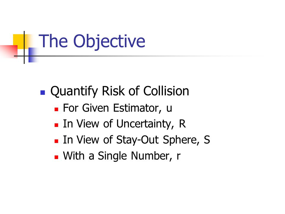 The Objective Quantify Risk of Collision For Given Estimator, u In View of Uncertainty, R In View of Stay-Out Sphere, S With a Single Number, r