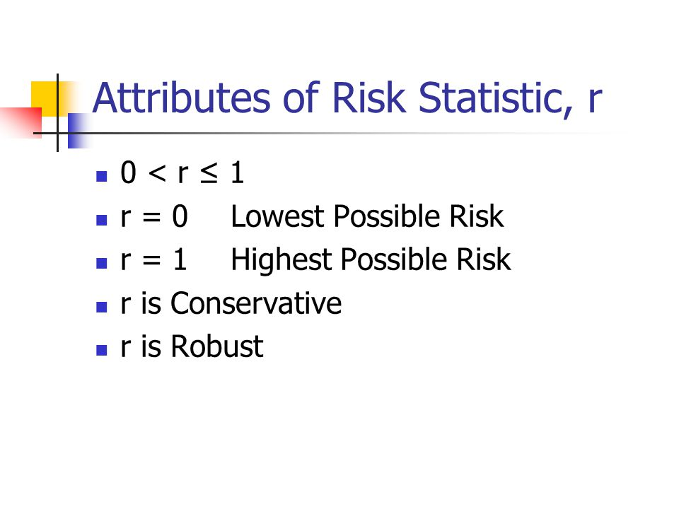 Attributes of Risk Statistic, r 0 < r ≤ 1 r = 0Lowest Possible Risk r = 1Highest Possible Risk r is Conservative r is Robust