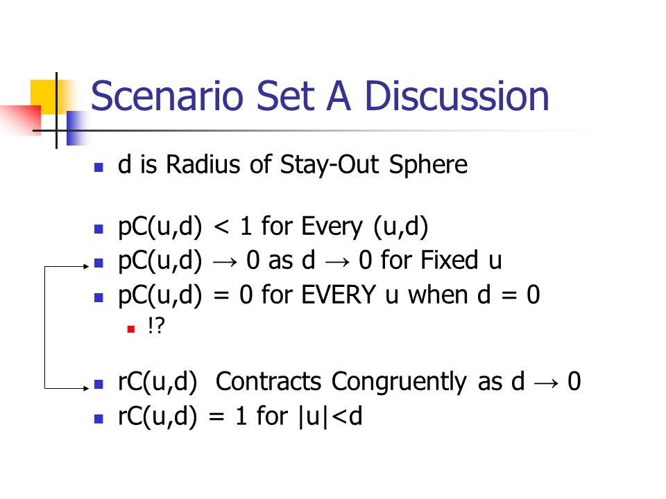 Scenario Set A Discussion d is Radius of Stay-Out Sphere pC(u,d) < 1 for Every (u,d) pC(u,d) → 0 as d → 0 for Fixed u pC(u,d) = 0 for EVERY u when d =