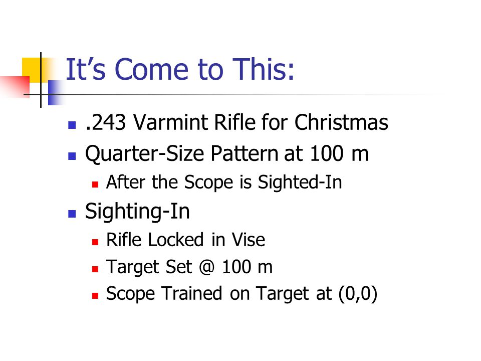 It's Come to This:.243 Varmint Rifle for Christmas Quarter-Size Pattern at 100 m After the Scope is Sighted-In Sighting-In Rifle Locked in Vise Target Set @ 100 m Scope Trained on Target at (0,0)