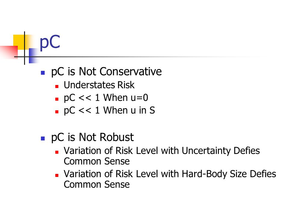 pC pC is Not Conservative Understates Risk pC << 1 When u=0 pC << 1 When u in S pC is Not Robust Variation of Risk Level with Uncertainty Defies Commo