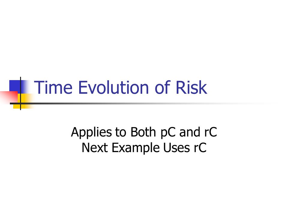 Time Evolution of Risk Applies to Both pC and rC Next Example Uses rC