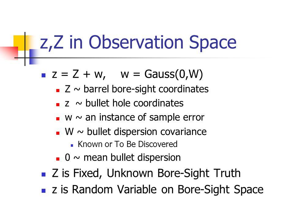 z,Z in Observation Space z = Z + w, w = Gauss(0,W) Z ~ barrel bore-sight coordinates z ~ bullet hole coordinates w ~ an instance of sample error W ~ b
