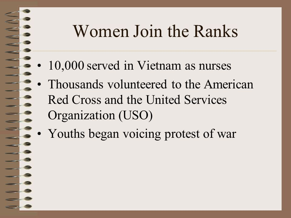 Women Join the Ranks 10,000 served in Vietnam as nurses Thousands volunteered to the American Red Cross and the United Services Organization (USO) Youths began voicing protest of war