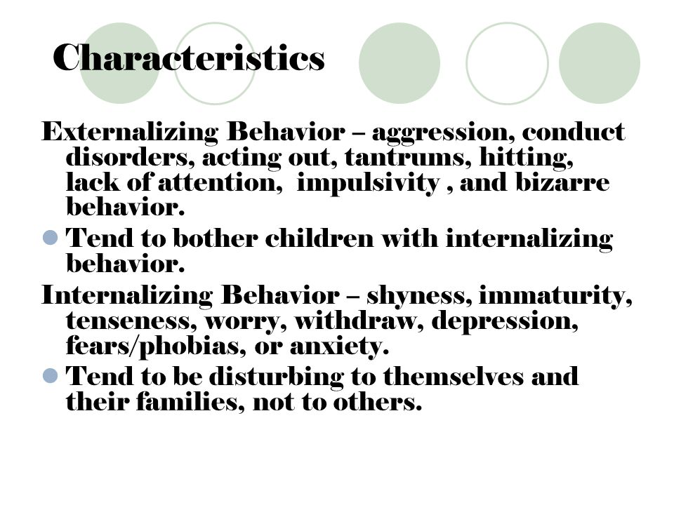 Conduct Disorders Include: hitting fighting throwing temper tantrums teasing acting defiant or disobedient destroying property bullying being physically cruel to others or animals stealing with a victim present lying conning deceiving serious rule violations Their intelligence is within the normal range, however the students will display low academic achievement.