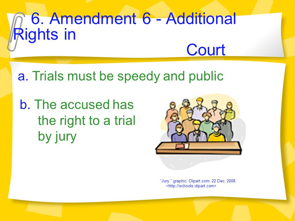 6.Amendment 6 - Additional Rights in Court a. Trials must be speedy and public b.