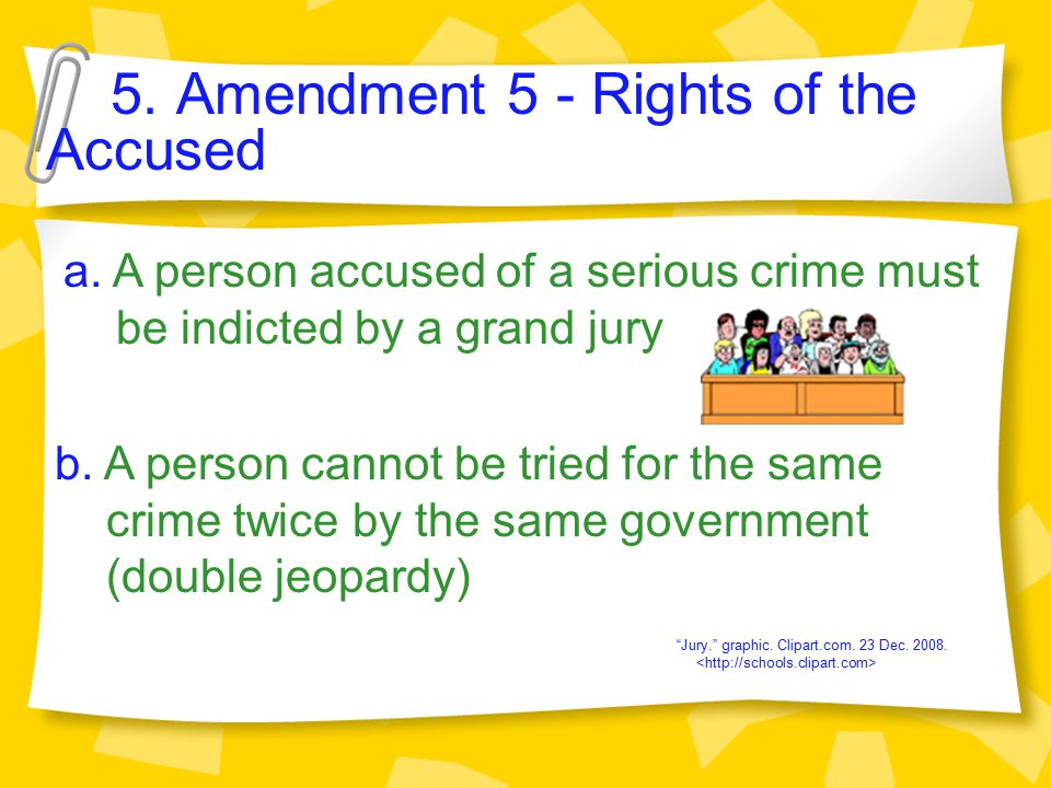 5.Amendment 5 - Rights of the Accused a.