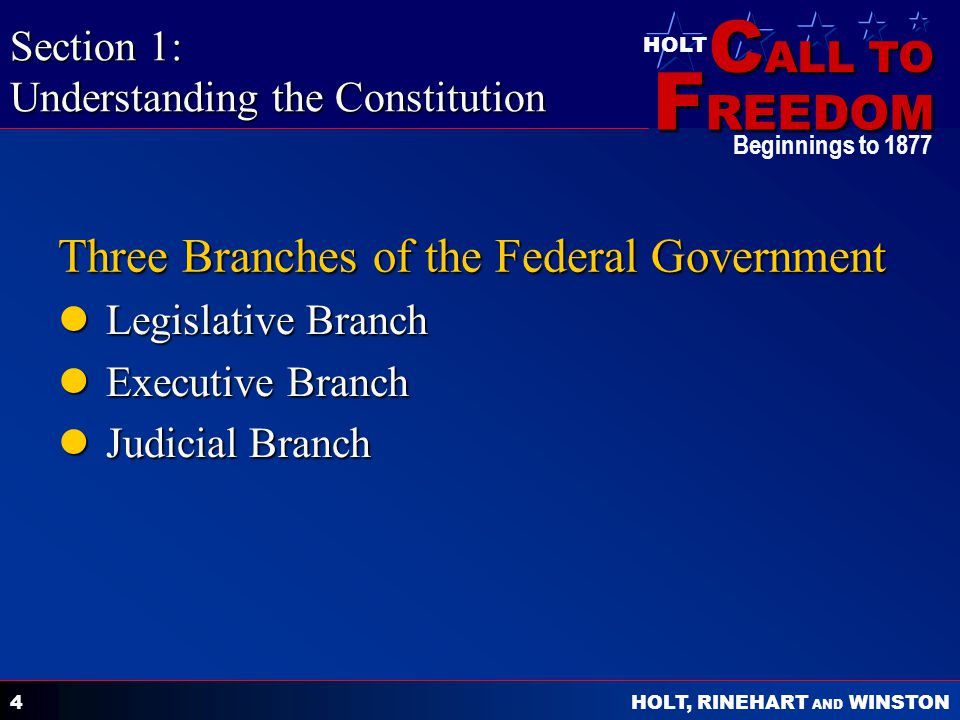 C ALL TO F REEDOM HOLT HOLT, RINEHART AND WINSTON Beginnings to 1877 4 Three Branches of the Federal Government Legislative Branch Legislative Branch